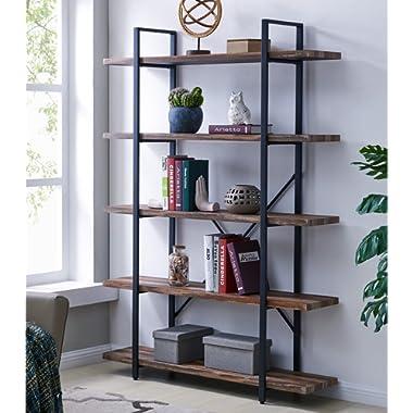 Homissue 5-Tier Bookcase, Vintage Industrial Wood Metal Bookshelves Home Office Organizer, Retro Brown