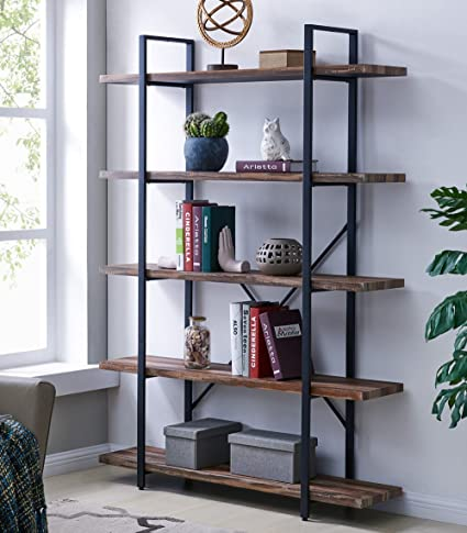 Homissue 5 Tier Bookcase, Vintage Industrial Wood Metal Bookshelves Home  Office Organizer, Retro