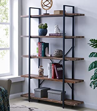 Homissue 5 Tier Bookcase, Vintage Industrial Wood And Metal Bookshelves For  Home And Office