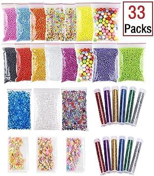 Pack de cuentas de colores para manualidades, hacer slime, etc ...