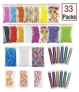 Pack de cuentas de colores para manualidades, hacer slime, etc., de la marca HMILYDYK: Amazon.es: Juguetes y juegos