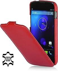 StilGut, UltraSlim, pochette exclusive de cuir véritable pour la Nexus 4 de Google/LG E960, en rouge