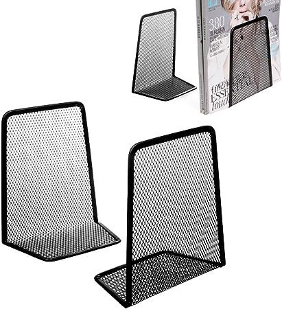 1 Pair Metal Mesh Desk Organizer Desktop Office Home Bookends Book Holder Black