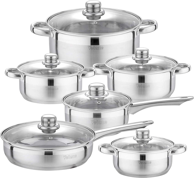 Velaze Juego de Ollas, Batería de Utensilios de Cocina de Cocina de Acero Inoxidable para Todas las Cocinas(12 Piezas)