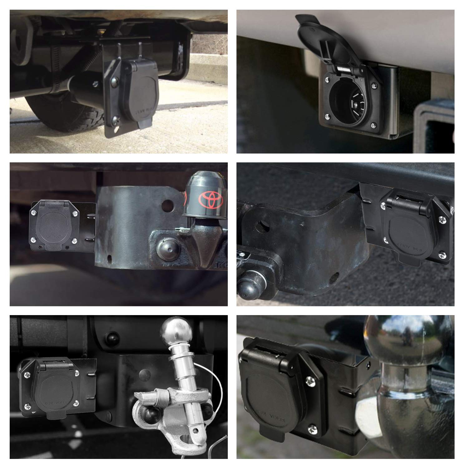 Reverse Plug with Mounting Bracket for Towing Solutions MENKEY 4 Flat Truck to 7 Way Blade Trailer Light Adapter