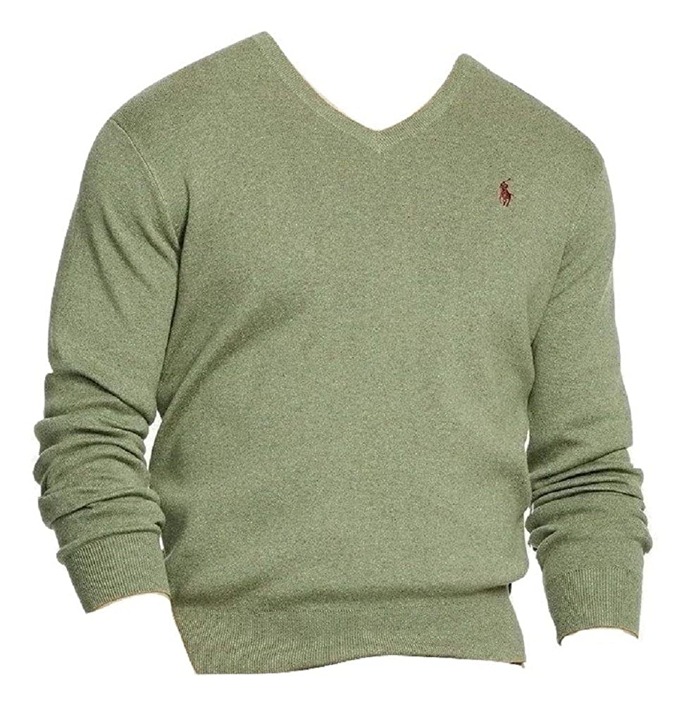 Vert L Ralph Lauren Pull Pima col V en Coton pour Homme