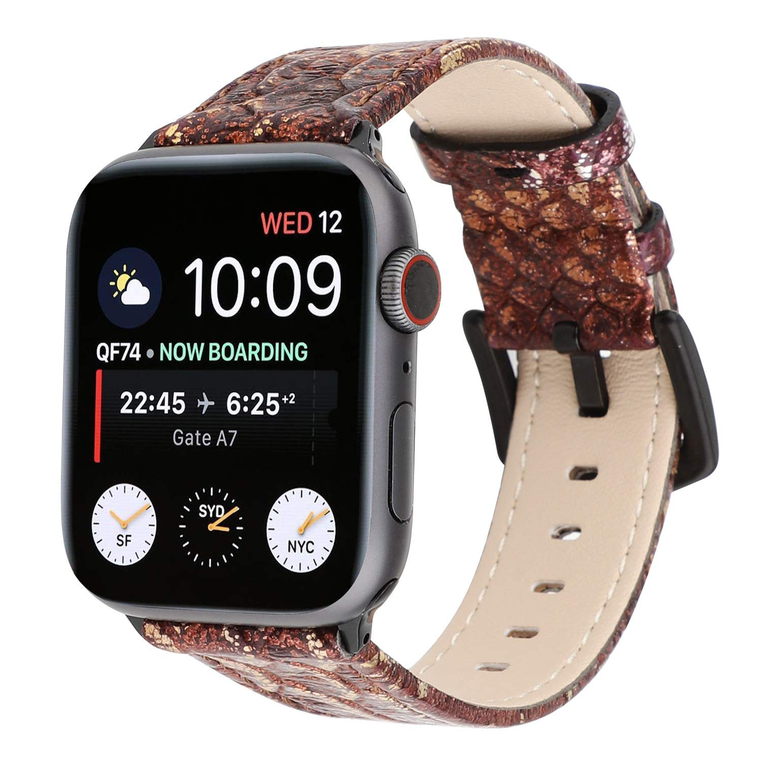 Watch Band 38mm 42mm 40mm 44mm Snake Skin Leather Watch Strap Replacement for iWatch Series 4 3 2 1 Nike+ by Kortusa