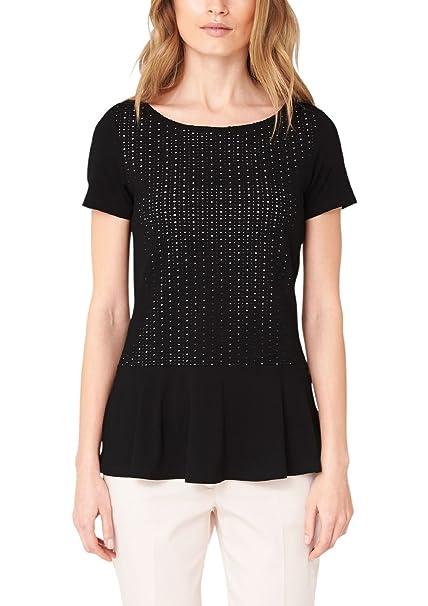 s.Oliver in Lochspitze - Camiseta para Mujer, Color Schwarz (Ebony 9999), Talla 38/M