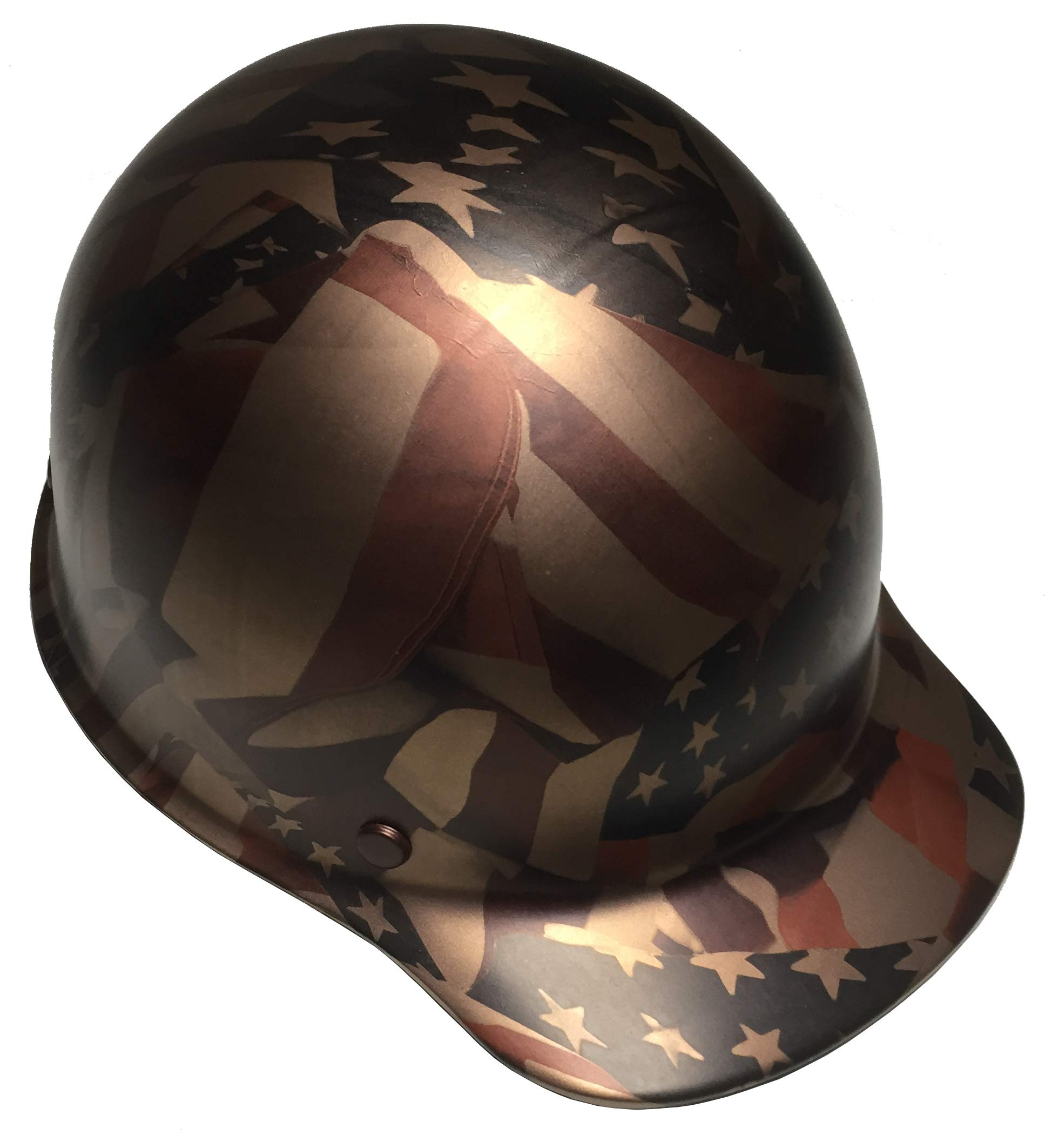 Hard Hat MSA Skullgard Cap Style Custom Copper Metallic American Flags Satin