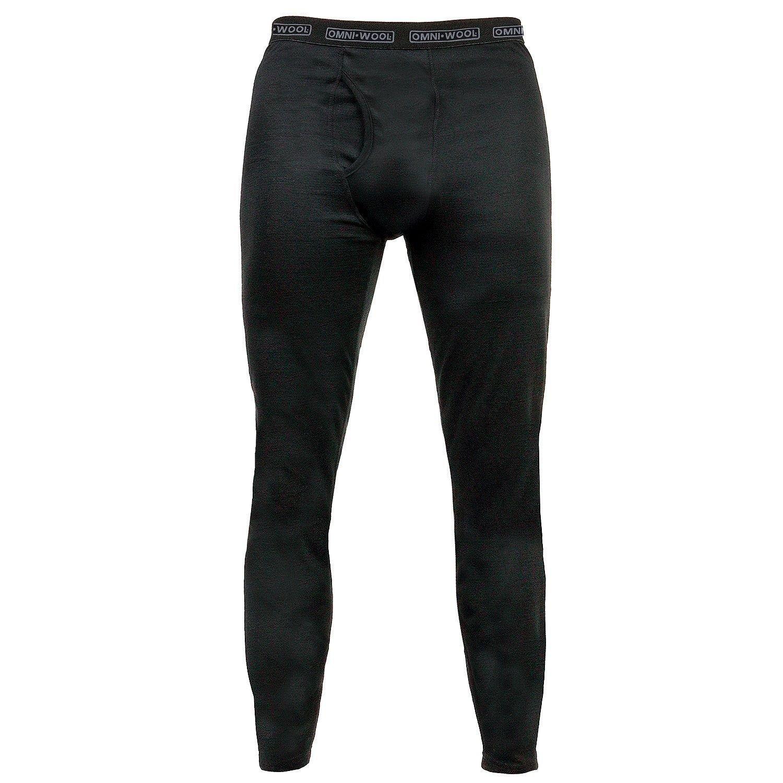Omni Wool Mens Base Dual-Layer Thermals, Black (X-Large)
