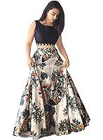 Nena Fashion Women's Banglory Silk Lehenga Choli (White,Free Size, Semi-Stitched)
