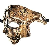 CCUFO Steampunk Demi-Masque Victorien Golden Mechanical Equipment Homme Masque vénitien Mascarade / soirée à thème / Carnaval / Danse dansante