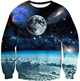 Union Link Teen Printed Universe Planet Crewneck Sweatshirts Casual Shirt Blue