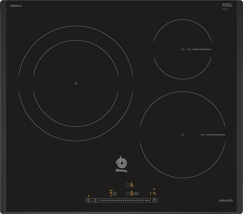 Balay 3EB965LU hobs Negro Integrado Con - Placa (Negro, Integrado, Con placa de inducción, 1400 W, 14,5 cm, 2200 W)
