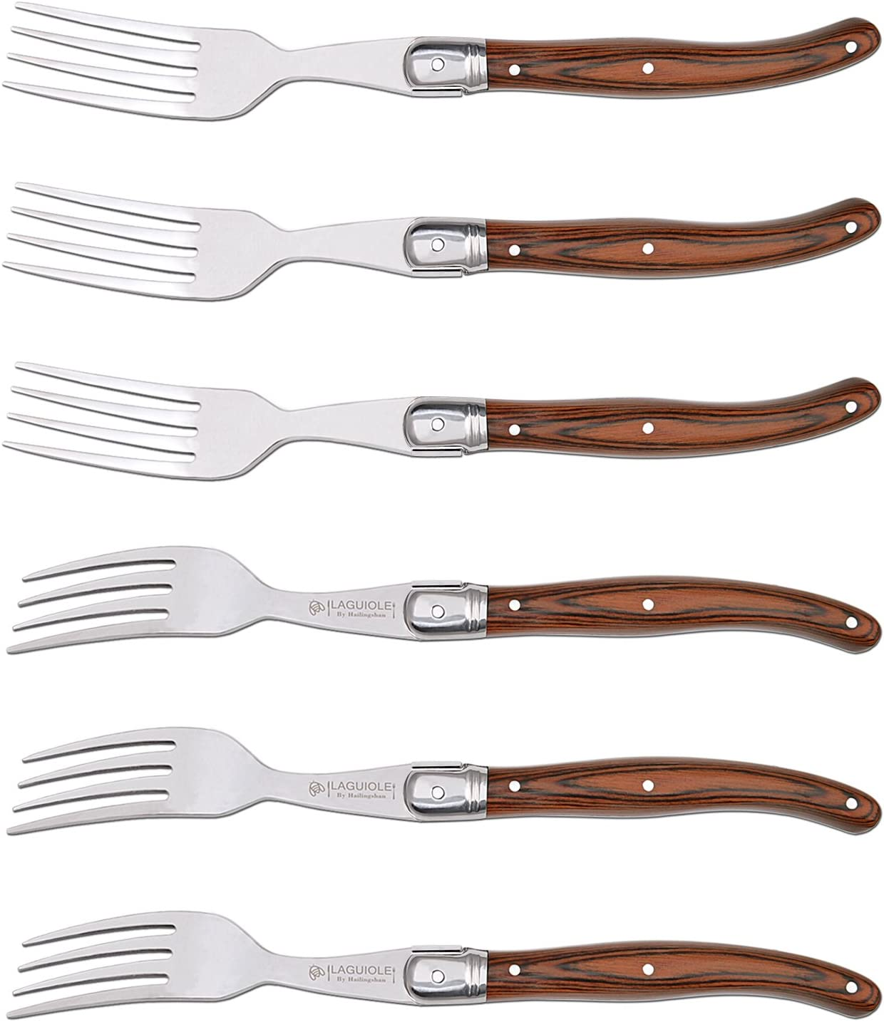 Forks Set of 6, Hailingshan Heavy Duty Stainless Steel Dinner Table Flatware Set, Laguiole Premium Kitchen Cutlery Utensils Salad Meat Steak Fork Mirror Finish Wooden Handle 23cm 6-Piece [Gift Box]