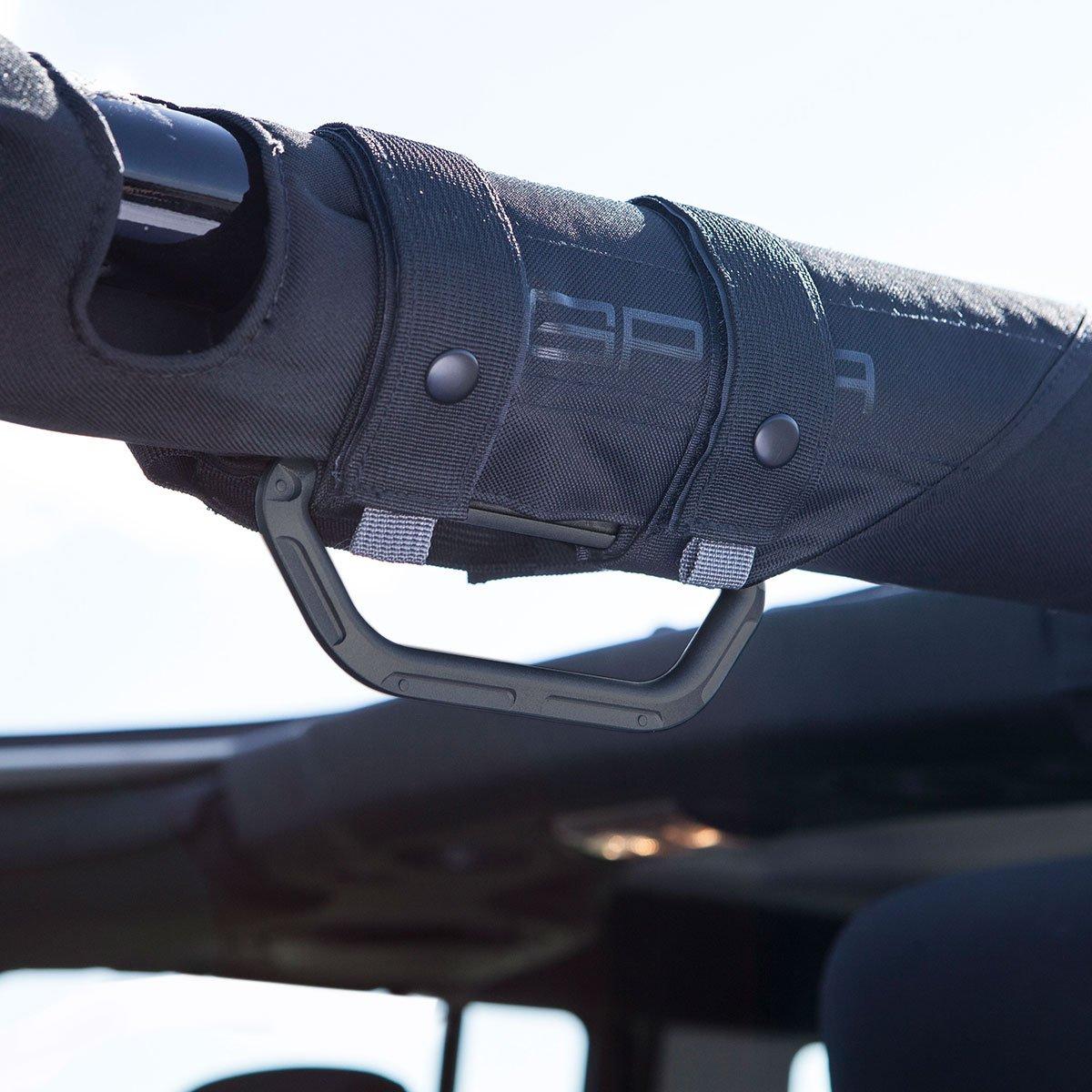 GPCA Products GPCA Wrangler Metal Grab Handle Jet Black - Single GP-Grip LITE for Jeep JK JKU JL Sports//Sahara//Freedom//Rubicon X Unlimited X 2DR// 4DR 2007-2019 with 3 Padded roll bar