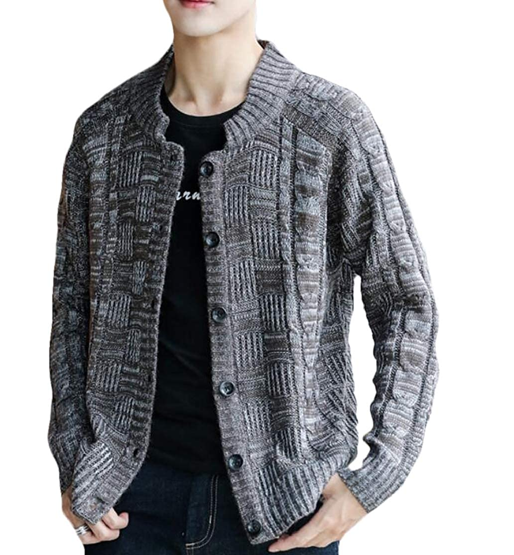 BU2H Men Autumn Winter Button Down Wool Knit Long Sleeves Cardigan Sweaters