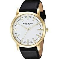 Kenneth Cole Men's White Dial Leather Band Watch - 10030810