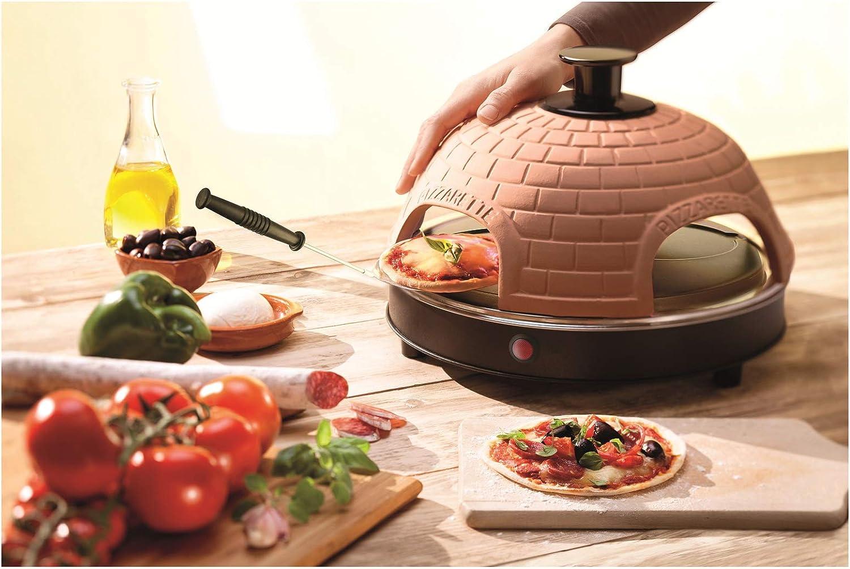 Emerio PO-115985 Horno para Pizza Eléctrico, Antiadherente, Incluye Espátulas y Cortapizzas, Libre de BPA, 900W