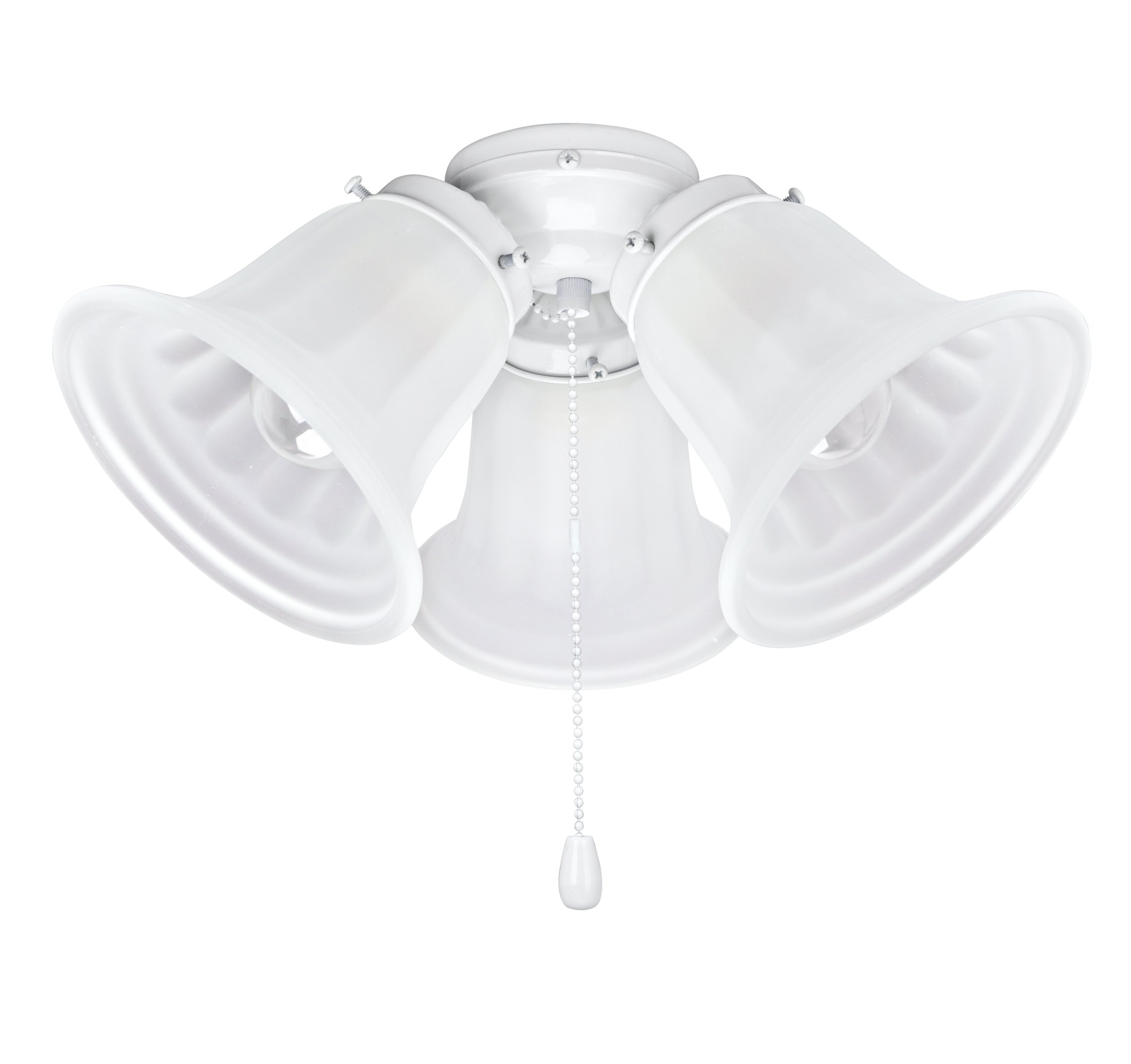 Aspen Creative 22002-21, Three Ceiling Fan Fitter Light Kit with Pull Chain, 5 1/2'' Diameter, Painted White