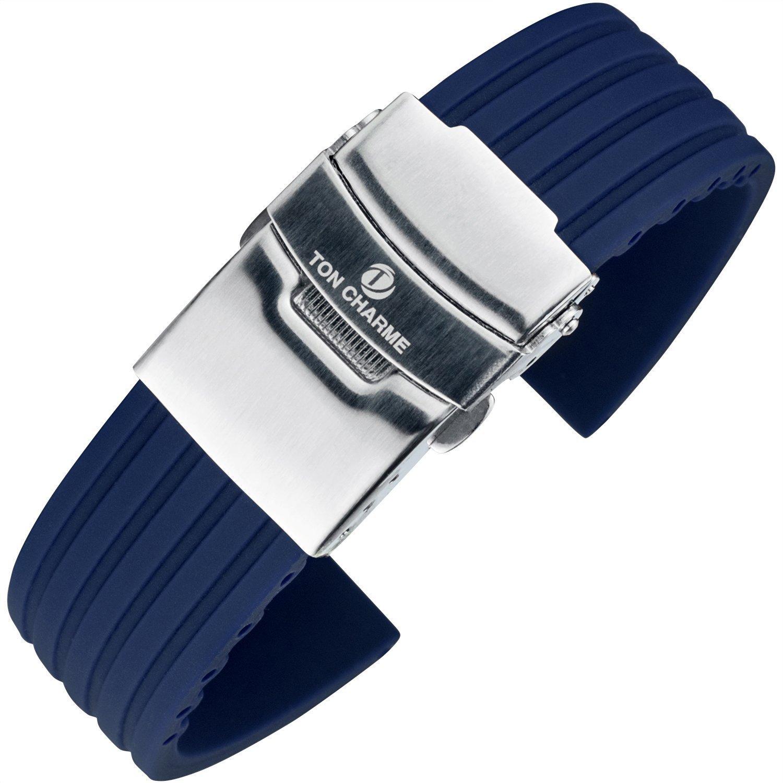 TON CHARME 防水ソフトシリコーンフリンジ腕時計ストラップバンドオレンジ/ブラック/ブルー18 mm / 20 mm / 22 mm / 24 mm 24mm ブルー  ブルー 24mm B071CNVTWR