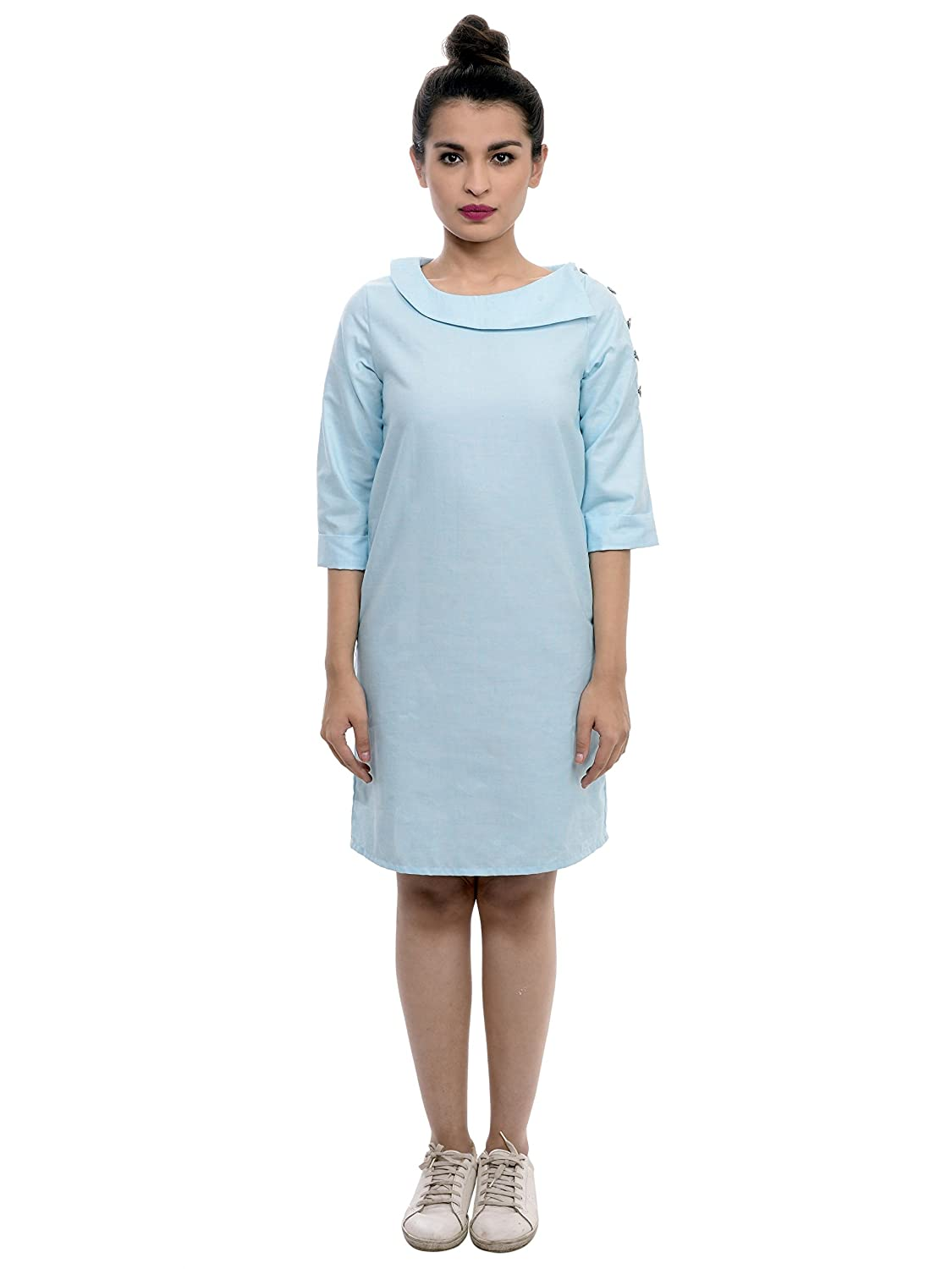 a7f54ac424 SASSYSTRIPES Never Try Hard Powder Blue Dress with Asymmetrical Neckline:  Amazon.in: Clothing & Accessories