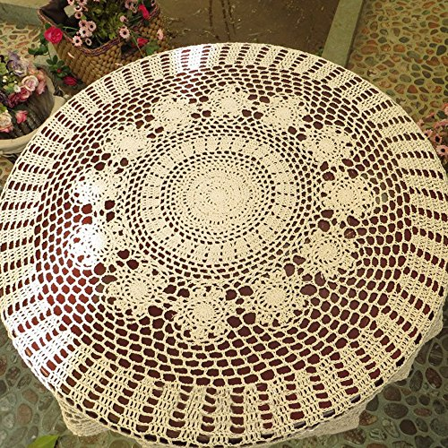 TideTex Handmade Crochet Cotton Flower Weave Tablecloths Hollow Out Rustic Coffee Table Table Cover Doilies Table Overlays Decoration Mats (36-Inch Round, Beige) (Space Living Tablecloths Round)