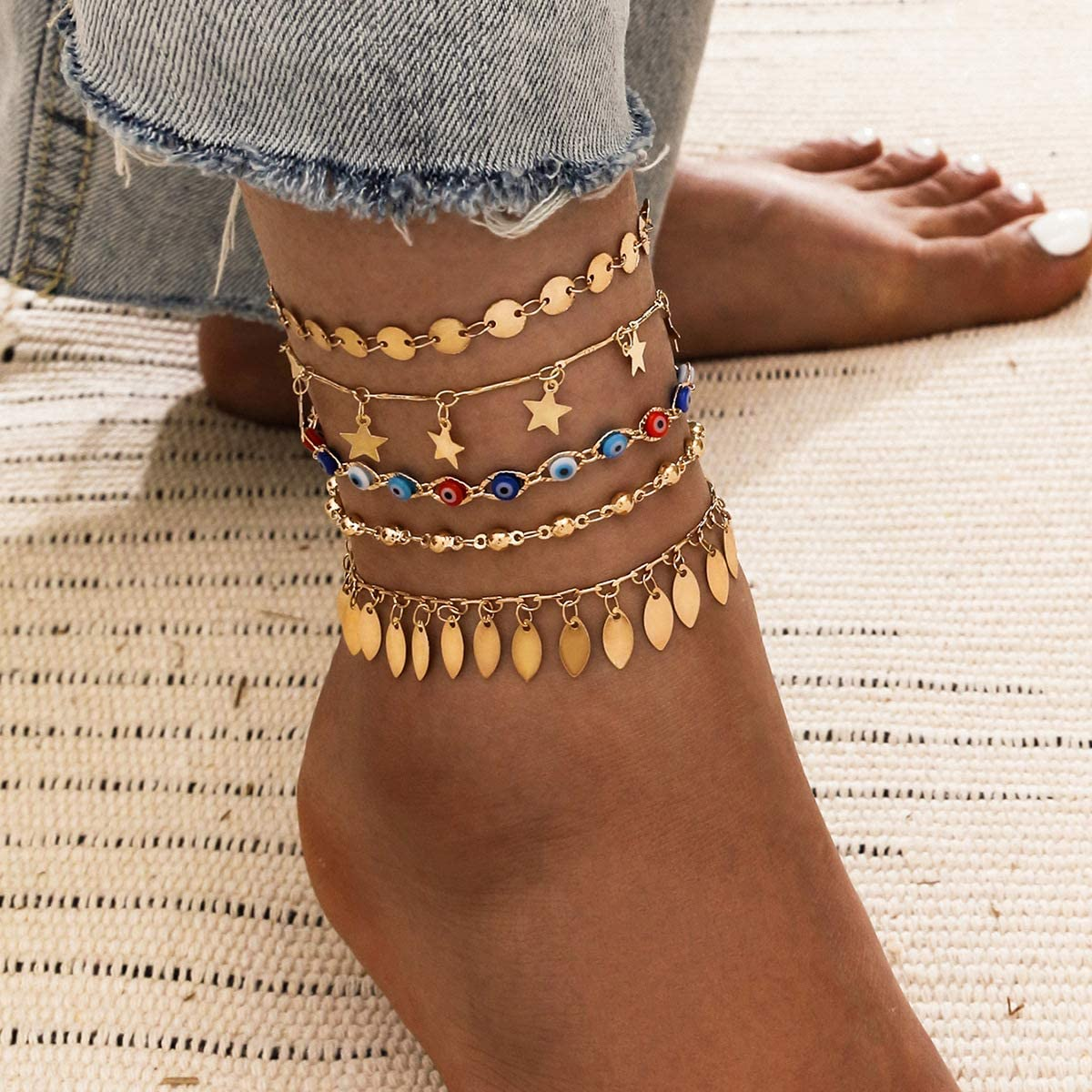 SOFTONES Charm Ankle Bracelets for Women Set Gold Jewelry Anklet for Women Girls Beach Anklets Gifts,Adjustable Size