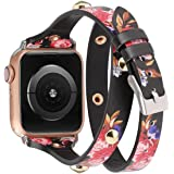 Moolia Compatible with Apple Watch Band 42mm 44mm for Women Girls,Slim Leather Double Wrap Around Srap Bracelet Replacement W
