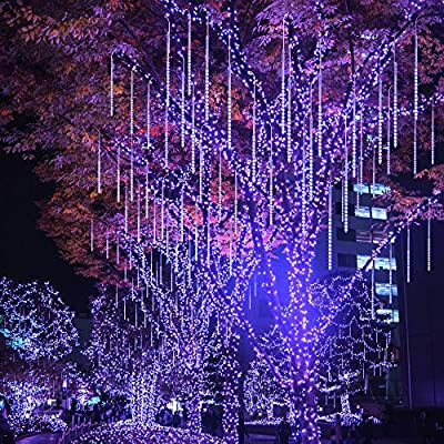 BlueFire Meteor Shower Rain Lights with 50cm 10 Tubes 540 LEDs Icicle String Lights for Wedding Christmas Garden Tree Home Decor