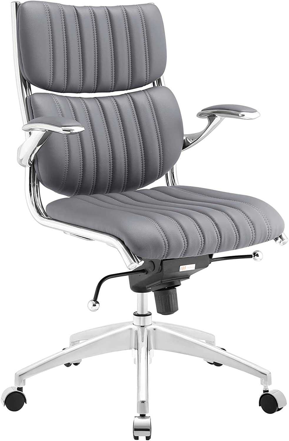 Modway Escape Ribbed Faux Leather Ergonomic Computer Desk Office Chair in Gray