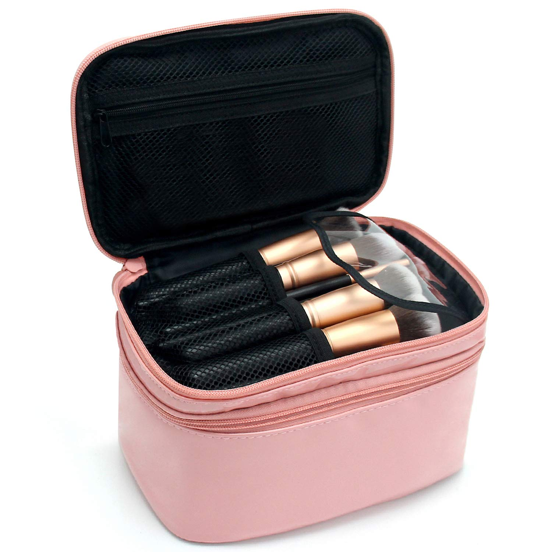 Relavel Cosmetic Bag Makeup Bag 2 Layer Travel Accessories Cosmetics Makeup Case Organizer Bag with Brush Holder Multifunctional Bag Wonderful Gift for Girls Women (Pink)