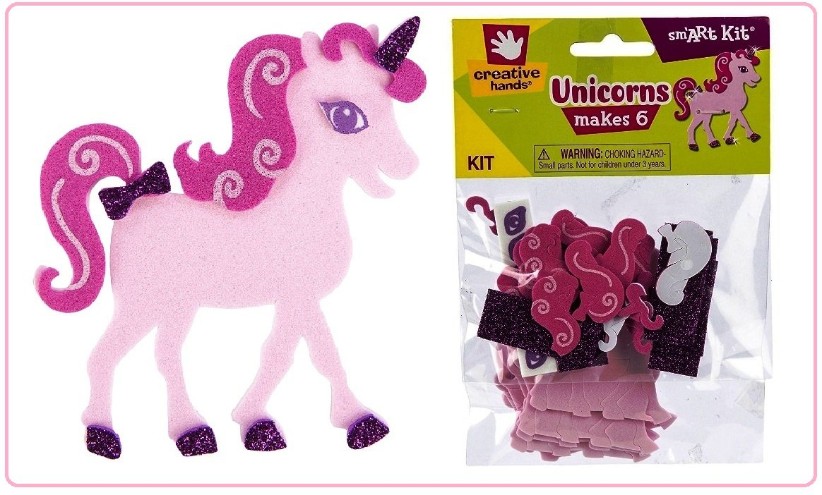 Glitter Unicorns Foam Craft Kit (Pack of 2 - Makes 12 Unicorns) Perfect For Kid's Art & Craft, Party Favors, Goody Bag Fillers, Kid's Gift