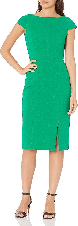 Donna Morgan Women's Factory outlet Cap Super-cheap Sleeve Dress Stretch Slit Crepe Sheath