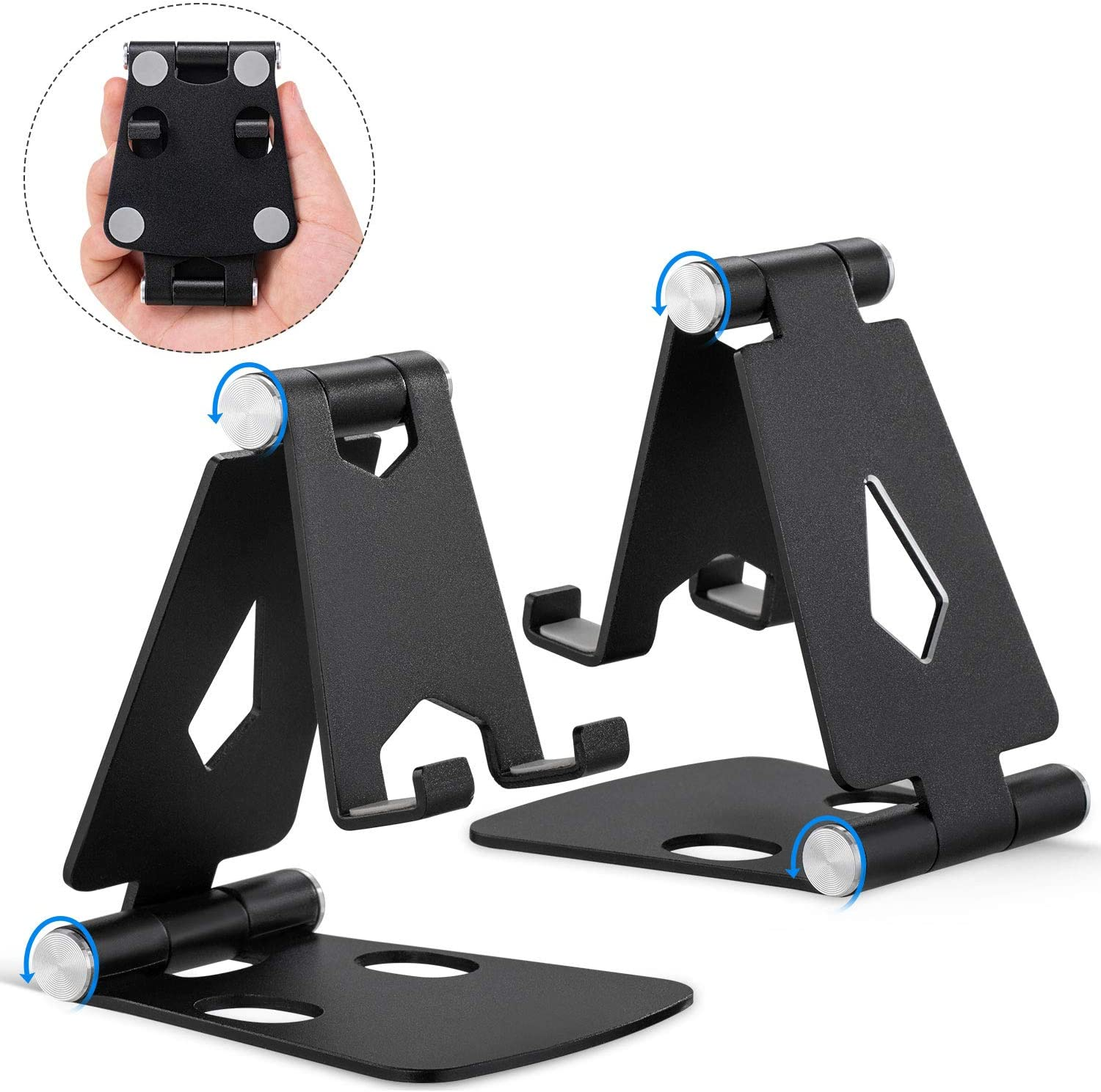 Adjustable Cellphone Stand, Cabepow 2Pack Aluminum Desktop Phone Holder with Anti-Slip Base and Convenient Charging Port for iPhone 11 Xs XR X 8 SE 2020, All Android Smartphone
