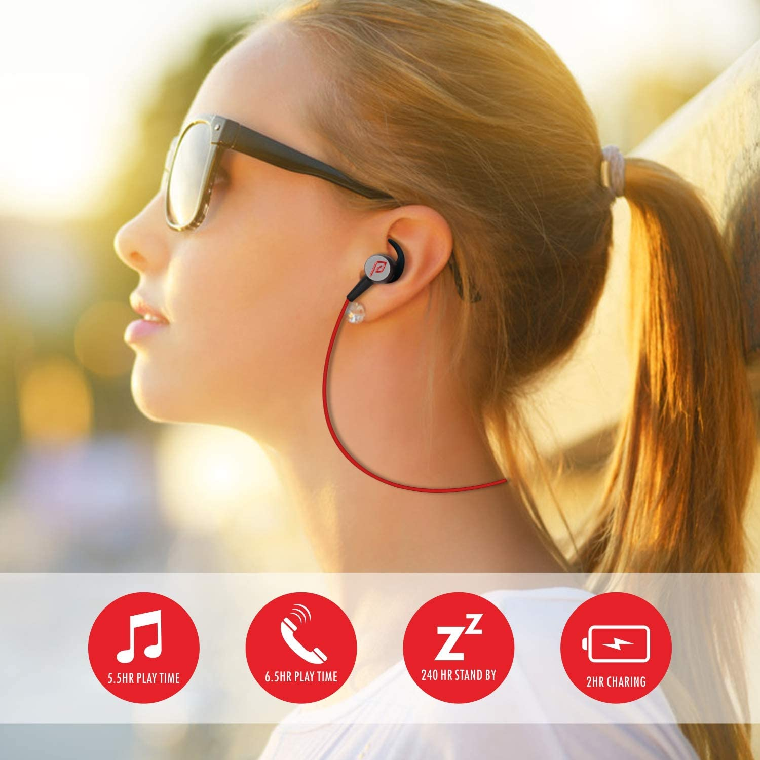 Bluetooth Headphones Black//red Parasom A1 Magnetic Microphone V4.1 Wireless Stereo Bluetooth Earphones Sport Headset In-Ear Noise Isolation Headphone Earbuds for Gym Running -Sweatproof