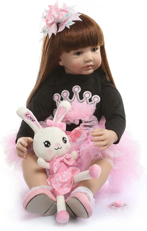 Reborn Baby Dolls 24 inch 60cm Handmade Soft Silicone Vinyl Princess Toddler