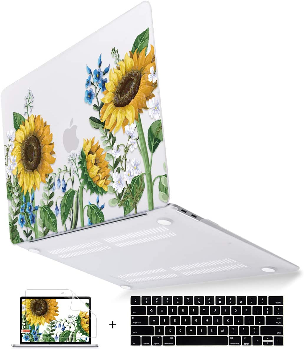 Mektron for New MacBook Pro 13 inch Case Touch bar 2016-2019 Release Model A2159/A1989/A1706/A1708 Sunflower Flowers Laptop Cover & Keyboard Skin & Screen Protector