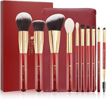 DUcare 10 PC Brochas Maquillaje Set Profesional + Bolso Rojo Sintético Set Brochas maquillaje Pinceles Maquillaje Profesional Makeup Brushes: Amazon.es: Belleza