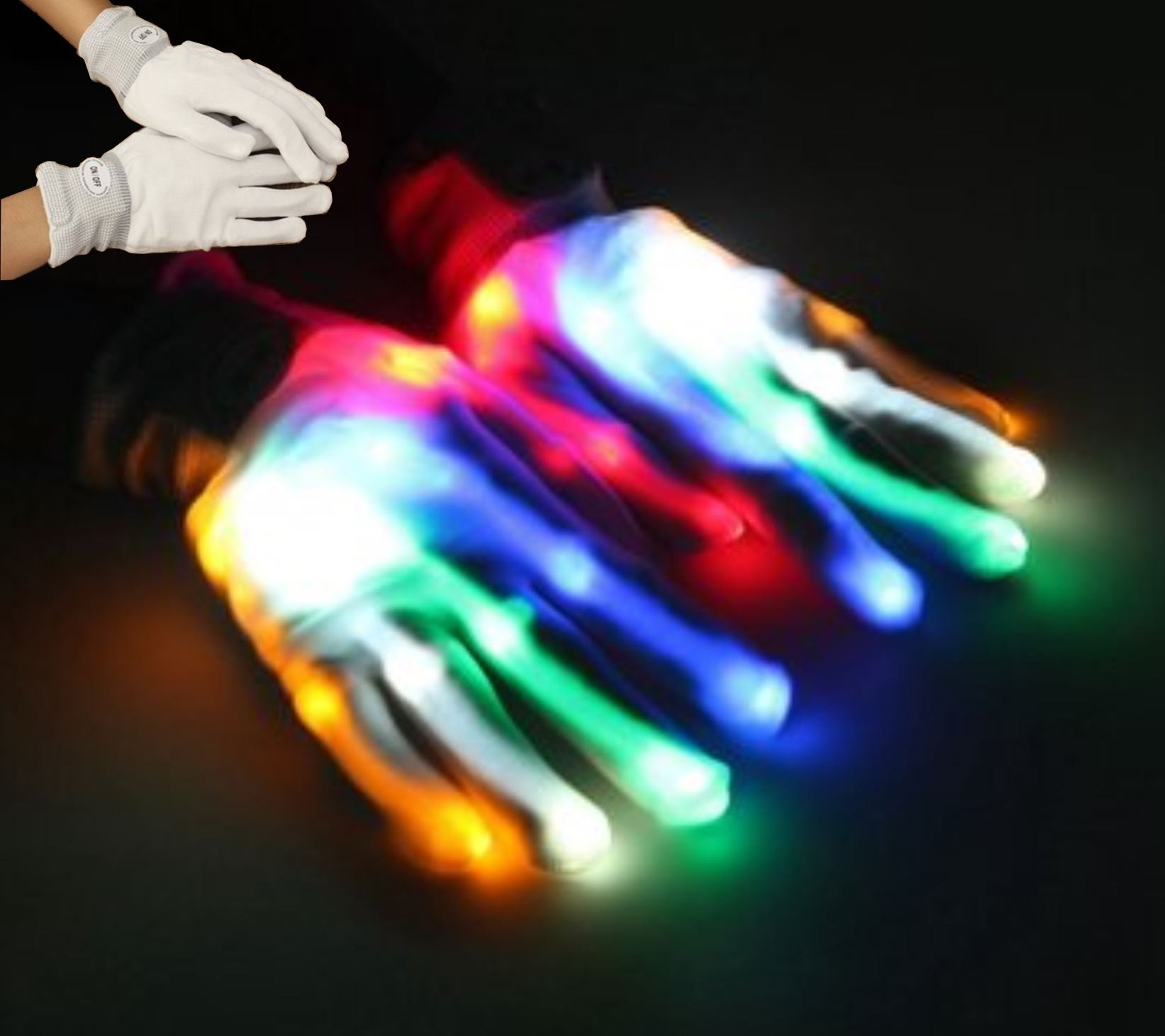 Multi-Color LED Flashing Gloves Electric Light up Christmas Dance Performance Rave Party Fun Props by Superjune