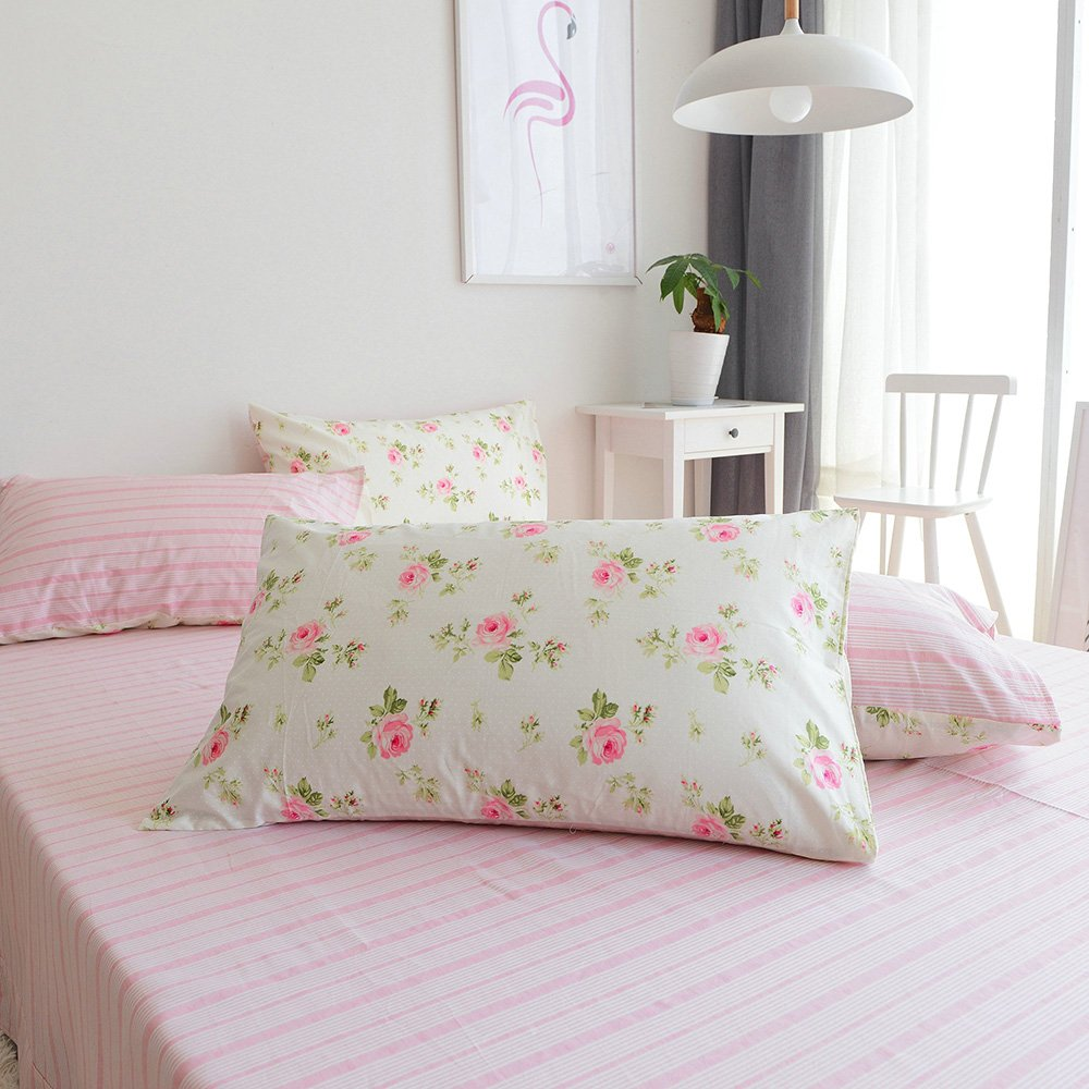 Pink Flower Print Floral Pillowcases Set of 2 Cotton Kids Girls Teens Adults Pillow Covers Reversible Striped Pillow Shams Standard Queen Decorative Pillowcases, Envelope Closure, (2 Pieces, 20''×26'')