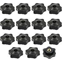 15 stuks stergreepmoeren M8 x 38 mm van kunststof binnendraad door gat ster kop schroef zwart ster vorm kop knop hand…