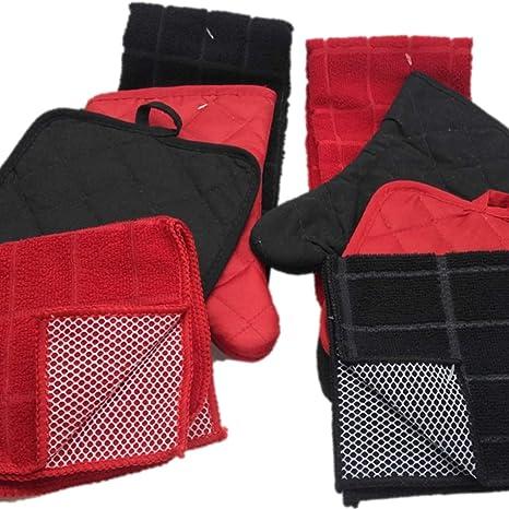 Amazon Com Towel Linen Set Kitchen Decor 8 Pc Bold Red And Black Color Combination That Pops Potholder Scrubber Dishcloth Oven Mitt Decorations Home
