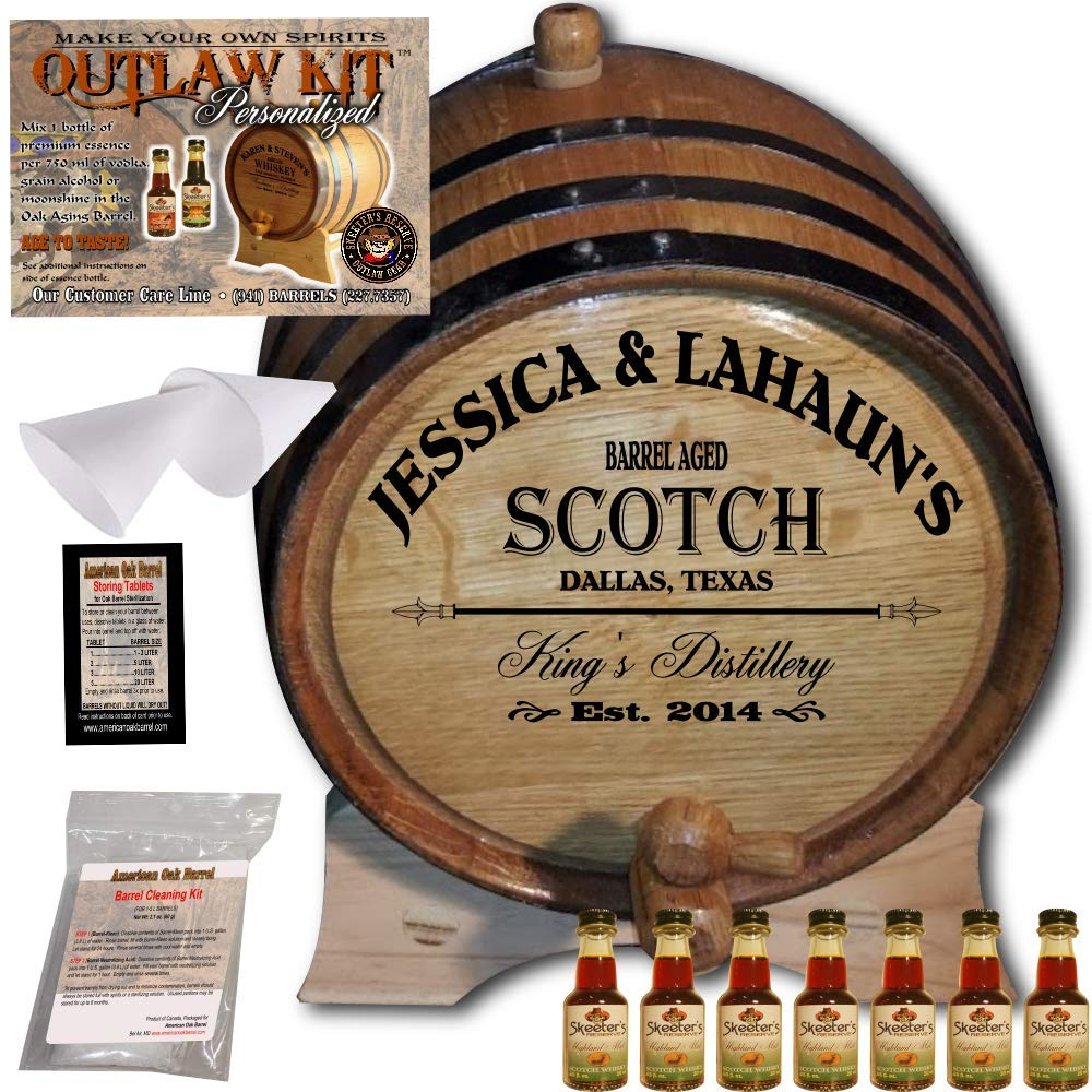 Personalized Whiskey Making Kit (061) - Create Your Own Highland Malt Scotch Whiskey - The Outlaw Kit from Skeeter's Reserve Outlaw Gear - MADE BY American Oak Barrel - (Oak, Black Hoops, 5 Liter)