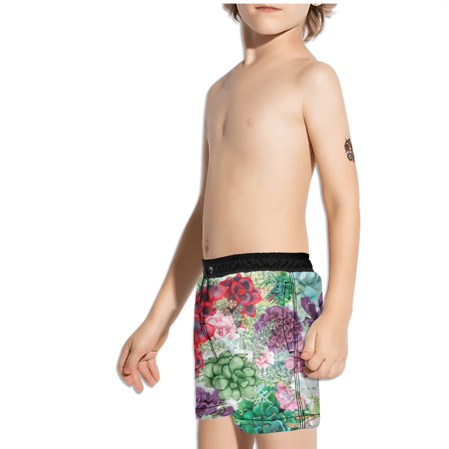 Ouxioaz Boys Swim Trunk Succulents Cactus Flower Beach Board Shorts