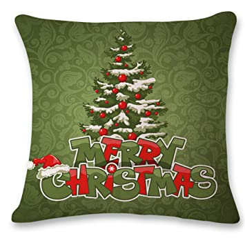 Pillow CaseRetro Christmas Tree Cushions Cotton Linen Home Decorative Soft Case Covers