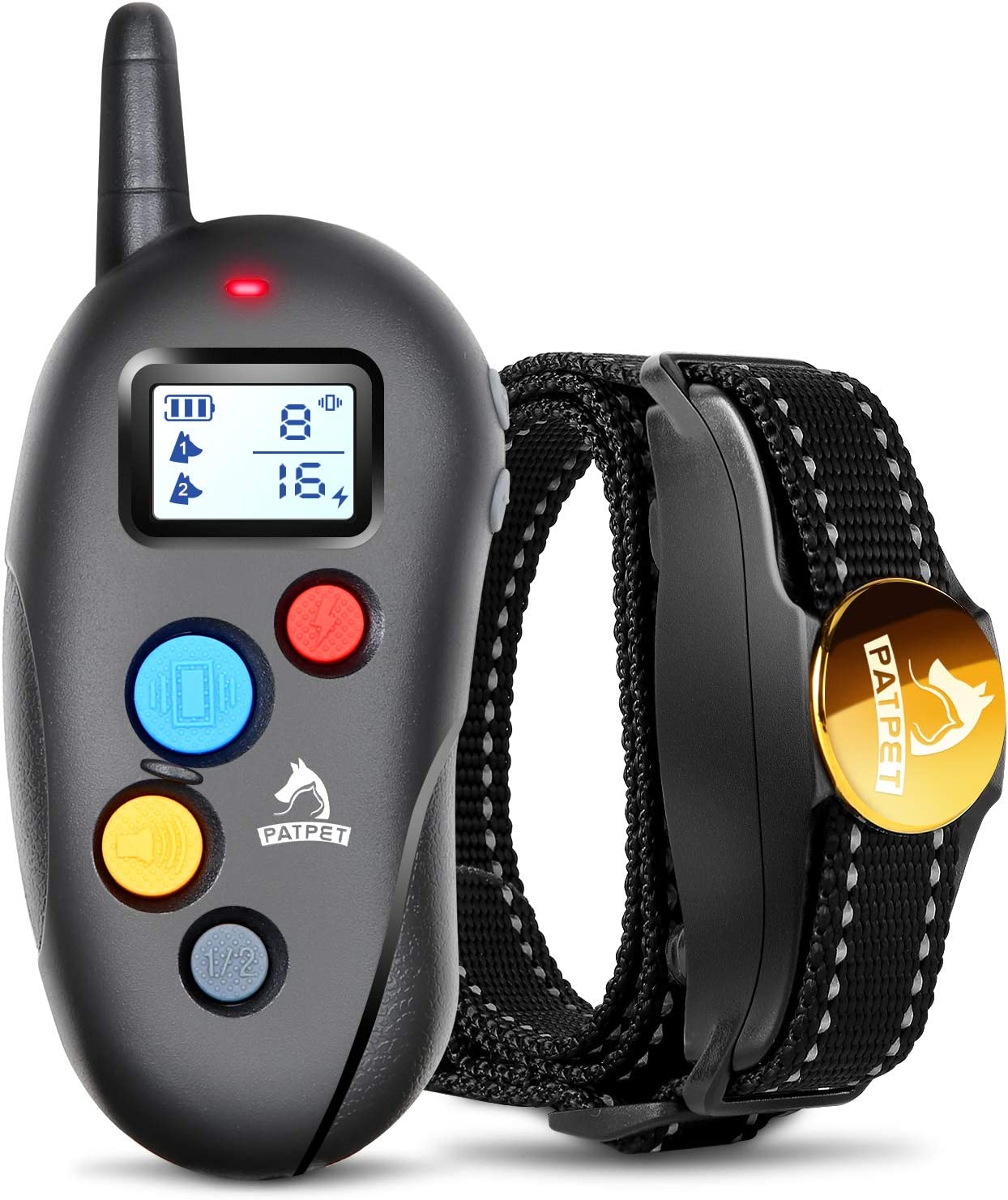 Patpet Dog Training Collar IPX7 Waterproof, Fast rechargeable Shock Collar for Dogs with 1600FT Long Remote Range, 3 Modes Beep Vibration Shock e-Collar for Small Medium Large Dog AC Adapter Included