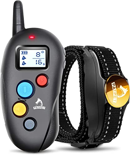 Patpet Dog Training Collar IPX7 Waterproof, Fast rechargeable Shock Collar for Dogs with 1000FT Long Remote Range, 3 Modes Beep Vibration Shock e-Collar for Small Medium Large Dog AC Adapter Included