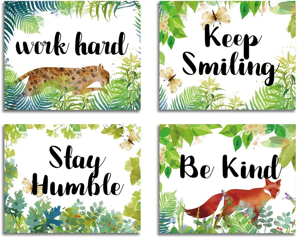 """Inspirational Quote Art Painting Work Hard Be Kind Stay Humble Keep Smiling Art Print Set Of 4 (10""""X8""""), Green Forest Animal, Motivational Phrases Wall Art foroffice classroom room Cafe Decor"""
