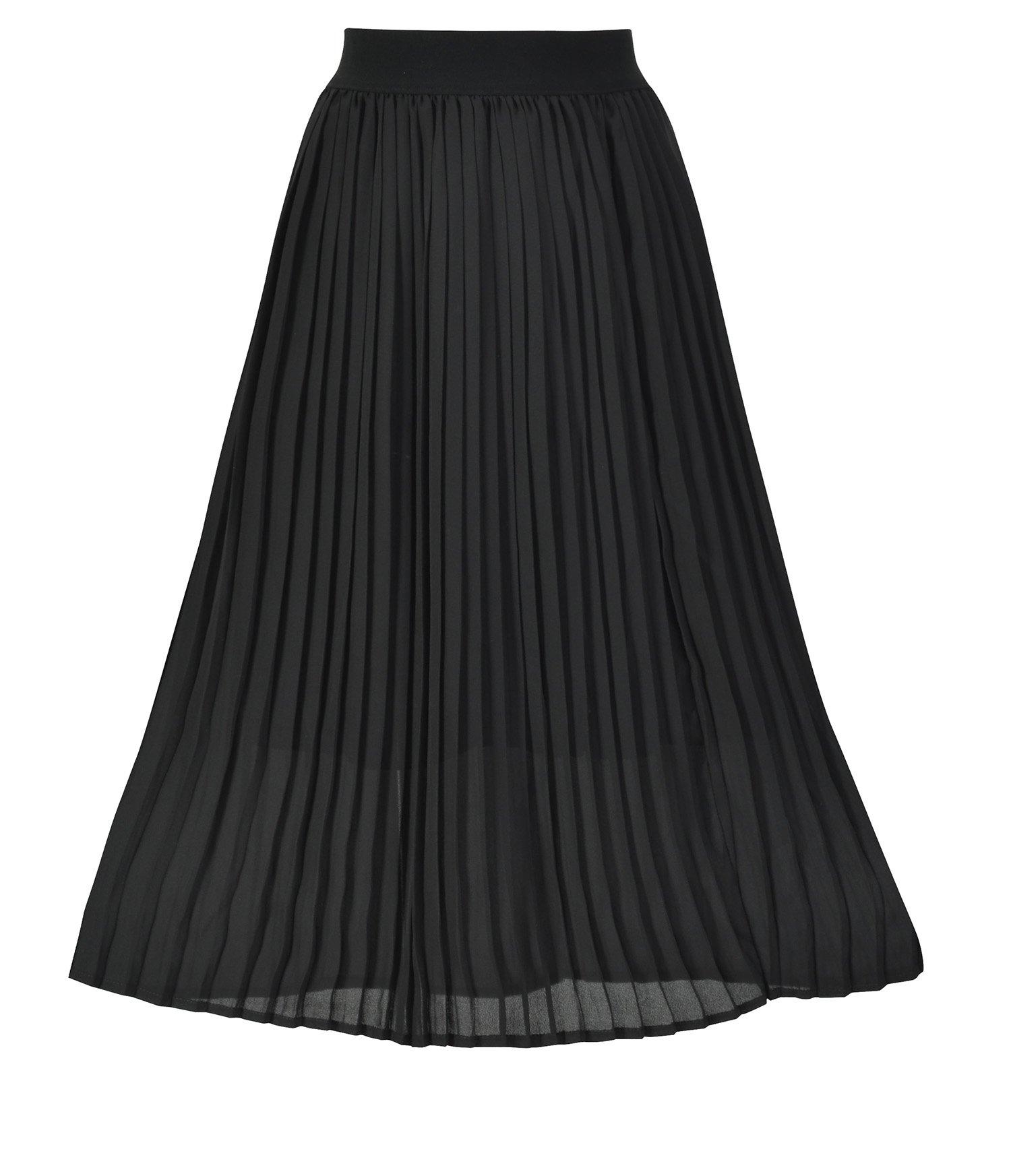 Howriis Women's Summer Chiffon Pleated A-Line Midi Skirt Dress (4-6, Black)
